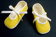 pair of yellow baby booties