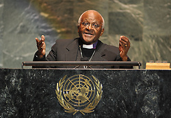 Archbishop Desmond Tutu speaks at the Inaugural Millennium Development Goals Awards honoring Archbishop Desmond Tutu at the United Nations' General Assembly Hall in New York City, NY, USA on March 17, 2009. Photo by S.Vlasic/ABACAPRESS.COM    181520_005 New York City Unitd