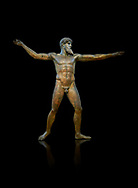 Early classical ancient Greek bronze statue of Zeus or Poseidon, circa 450 BC. Athens National Arcjaeological Museum, cat no X15161. Black background<br /> <br /> <br /> This bronze statue was found in the sea off Cape Artemision in northern Euobea. Zeus or Poseidon is shown making a great stride. His lefy arm is extended forward and his righy arm extends back which would have held a thunderbolt, if Zeus, or a trident if Poseidon. The identification of the statue is controversial though it ios more likely Zeus. <br /> <br /> It is one of the few preserved original statues of Severe Style, notable for the exuisite rendering of motion and anatomy. Iy is certainly the work of a great sculptor of the early ancient Greek Classical period .<br /> <br /> If you prefer to buy from our ALAMY STOCK LIBRARY page at https://www.alamy.com/portfolio/paul-williams-funkystock/greco-roman-sculptures.html . Type -    Athens    - into LOWER SEARCH WITHIN GALLERY box - Refine search by adding a subject, place, background colour, etc.<br /> <br /> Visit our ROMAN WORLD PHOTO COLLECTIONS for more photos to download or buy as wall art prints https://funkystock.photoshelter.com/gallery-collection/The-Romans-Art-Artefacts-Antiquities-Historic-Sites-Pictures-Images/C0000r2uLJJo9_s0