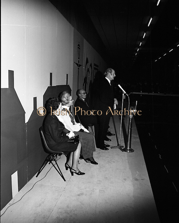 Mr Jack Lynch Opens the Boat show..1973..27.02.1973..02.27.1973..27th February 1973..After a hectic general election campaign,An Taoiseach, Jack Lynch found time before the ballot counts to officially open the Irish Boat Show in the RDS (Royal Dublin Showgrounds)...Picture taken as An Taoiseach,Jack Lynch delivers the speech to officially open the Irish Boat show at the RDS.