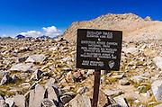 Trail sign on Bishop Pass, Kings Canyon National Park, California USA