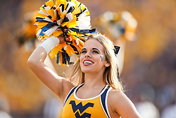 Sep 22, 2018; Morgantown, WV, USA; A West Virginia Mountaineers cheerleader performs during the third quarter against the Kansas State Wildcats at Mountaineer Field at Milan Puskar Stadium. Mandatory Credit: Ben Queen-USA TODAY Sports
