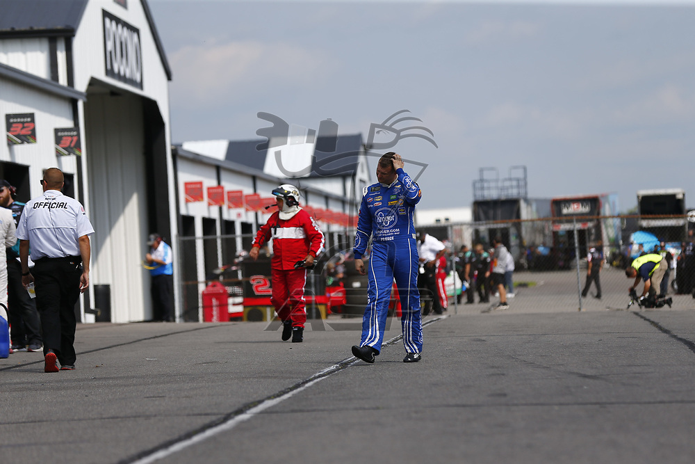Ryan Preece (47) takes to the track to practice for the Pocono 400 at Pocono Raceway in Long Pond, Pennsylvania.