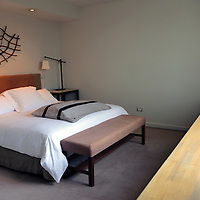 South America, Chile, Puerto Varas. Hotel Patagonico room.