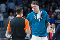 Real Madrid Luka Doncic talking with referee during Turkish Airlines Euroleague match between Real Madrid and Baskonia Vitoria at Wizink Center in Madrid, Spain. January 17, 2018. (ALTERPHOTOS/Borja B.Hojas)