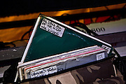 All day and all of the nights by the Kinks ready to go in Fatboy Slim's record bag at the Atmosphere Club in Johannesburg, South Africa, 2007.