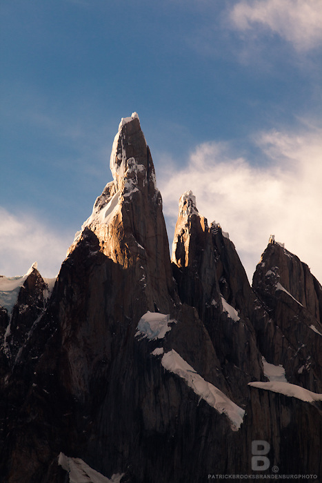 The strong and jagged peak of Cerro Torre, one of the most technical climbs in the world, just before sunset in Patagonia, Argentina.