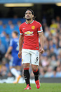 Radamel Falcao of Manchester United looking on. Barclays Premier league match, Chelsea v Manchester Utd at Stamford Bridge Stadium in London on Saturday 18th April 2015.<br /> pic by John Patrick Fletcher, Andrew Orchard sports photography.