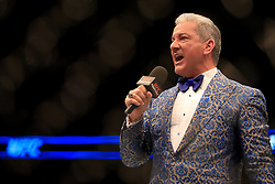 UFC Octagon Announcer Bruce Buffer at The O2 Arena, London. PRESS ASSOCIATION Photo. Picture date: Saturday March 17, 2018. See PA Story UFC London. Photo credit should read: Simon Cooper/PA Wire