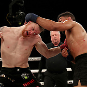 FORT LAUDERDALE, FL - FEBRUARY 15: Jim Alers (R) pulls the head of Kaleb Harris during the Bare Knuckle Fighting Championships at Greater Fort Lauderdale Convention Center on February 15, 2020 in Fort Lauderdale, Florida. (Photo by Alex Menendez/Getty Images) *** Local Caption *** Jim Alers; Kaleb Harris