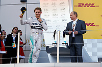 ROSBERG Nico (Ger) Mercedes Gp Mgp W05 Portrait Podium and Vladimir Putin during the 2014 Formula One World Championship, Russia Grand Prix from October 9th to 12th 2014 in Sotchi, Russia. Photo Florent Gooden / DPPI.