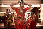"Ganga Thampi, applies make up to her face shortly before taking the staring role of Sita in the Indian epic Ramayana. She is both a teacher and one of the stars of  the traditional and highly prestigious Kalakshetra school for the arts, Chennai. The school was founded in 1936 and due to its exacting and demanding schedule is considered India's formost classical dance academy of this ancient cultural art heritage that is informally known as ""temple dancing"" and that dates back to the Natya Shastra, the 2000 year old text that lays down the principles of Indian dramatic theory and performance. Tamil Nadu, India."