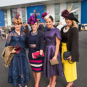 09.10.2016           <br /> Attend the Keanes Jewellers Best dressed competition at Limerick Racecourse were, Tina Coyne, Kindle Co. Cork, Niamh Kenny, Listowel Co. Kerry, Grace Keane, Ovens Co. Cork and Brid O'Driscoll, Kinvara Co. Galway. Picture: Alan Place