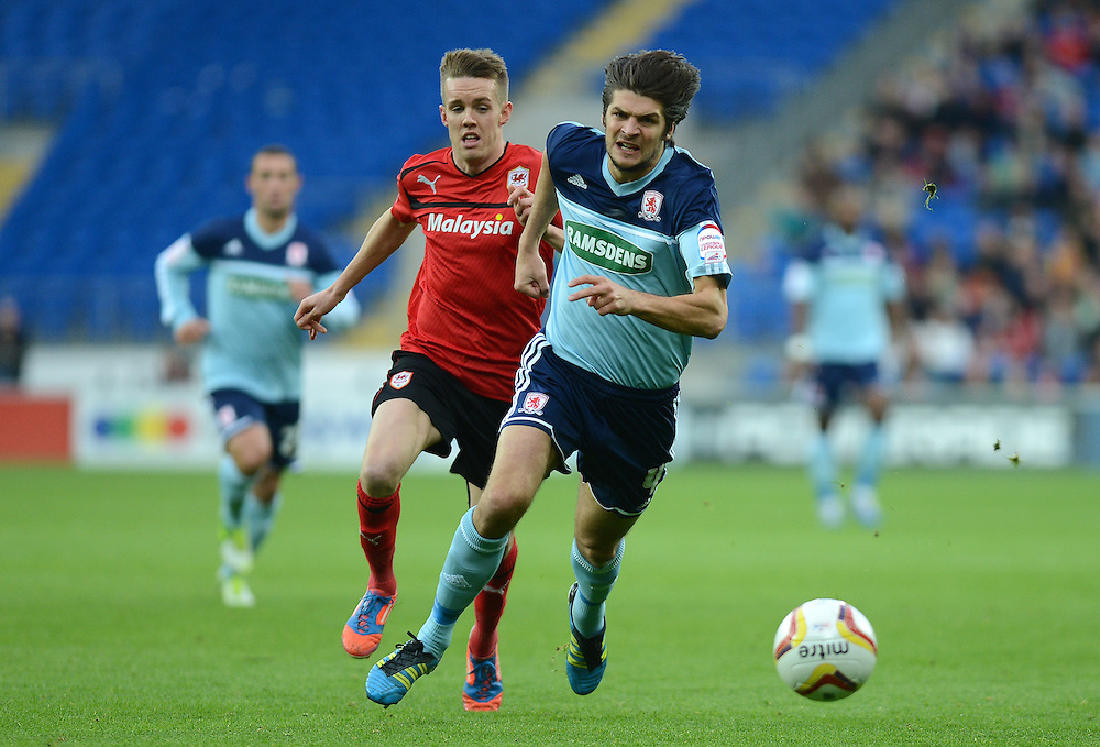 Middlesbrough's George Friend in action during todays match  ..Football - npower Football League Championship - Cardiff City v Middlesbrough - Saturday 17th November 2012 - Cardiff City Stadium - Cardiff ..