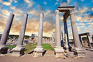 Columns of the Roman Agora of Perge. Perge (Perga) archaeological site, Turkey .<br /> <br /> If you prefer to buy from our ALAMY PHOTO LIBRARY  Collection visit : https://www.alamy.com/portfolio/paul-williams-funkystock/perge-archaeological-site-turkey.html<br /> <br /> Visit our CLASSICAL WORLD HISTORIC SITES PHOTO COLLECTIONS for more photos to download or buy as wall art prints https://funkystock.photoshelter.com/gallery-collection/Classical-Era-Historic-Sites-Archaeological-Sites-Pictures-Images/C0000g4bSGiDL9rw