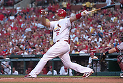 08 July 2011            St. Louis Cardinals first baseman Albert Pujols (5) swings early in the game. The Arizona Diamondbacks beat the St. Louis Cardinals 7-6 in the second game of a four game series on Friday July 8, 2011 at Busch Stadium in downtown St. Louis.