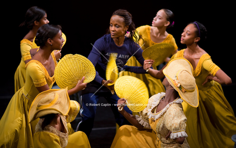 Judith Robenson of the Alvin Ailey American Dance theater works with dancers during a rehearsal of the company's 50th Anniversary Launch Event being held Thursday. Taken March 26, 2008. Photographer: Robert Caplin For The New York Times..