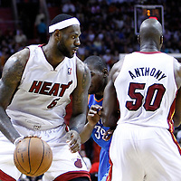 16 March 2011: Miami Heat small forward LeBron James (6) drives to the basket on a set screen by Miami Heat center Joel Anthony (50) during the Oklahoma City Thunder 96-85 victory over the Miami Heat at the AmericanAirlines Arena, Miami, Florida, USA.