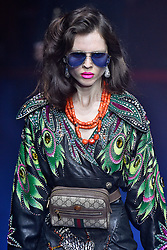 Model Sedona Legge walks on the runway during the Gucci Fashion Show during Milan Fashion Week Spring Summer 2018 held in Milan, Italy on September 20, 2017. (Photo by Jonas Gustavsson/Sipa USA)