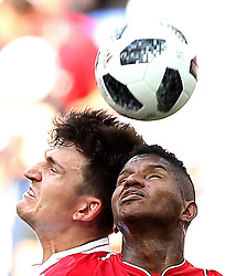 NIZHNY NOVGOROD, June 24, 2018  Harry Maguire (L) of England competes for a header with Fidel Escobar of Panama during the 2018 FIFA World Cup Group G match between England and Panama in Nizhny Novgorod, Russia, June 24, 2018. (Credit Image: © Xu Zijian/Xinhua via ZUMA Wire)