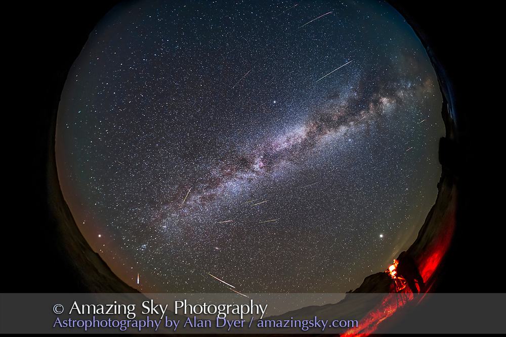 A selfie of me setting up to photograph the 2021 Perseid meteor shower on August 12, 2021 at Dinosaur Provincial Park, Alberta, as one camera captures the scene looking east while I finish setting up another camera in the foreground. <br /> <br /> The radiant of the shower is obvious, in Perseus, at lower left in the northeast. The Milky Way stretches from northeast to southwest (top right). A dim red aurora is on the horizon to the northeast. Cygnus is overhead at centre. Jupiter is the bright object above me. The Big Dipper is at upper left low in the northwest. <br /> <br /> This is a blend of 24 exposures taken over 3 hours, with the foreground coming from one image at the start of the sequence which had a meteor in it. The other 23 images add the other meteors, so this blend compresses 3 hours of meteor activity into one frame. <br /> <br /> All were with the TTArtisan 7.5mm circular fish-eye lens at f/2 on the Canon EOS Ra camera at ISO 3200 for a series of 30-second exposures, 316 in all over 3 hours, from which the 24 with meteors were extracted for stacking with Lighten blend mode. The camera was on the Star Adventurer Mini tracker to make alignment of the meteors easier in post-production, so the meteors are where they appeared in the sky relative to the background stars. <br /> <br /> This lens does not fill the frame; it is a circular fish-eye but at f/2 faster than any other fish-eye that fits on a full-frame camera, with the speed essential for picking up meteors. I was setting up another tracker to take shots with a 14mm lens.