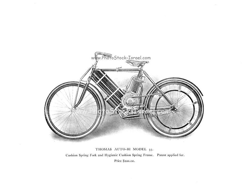 Thomas Auto-BI Model 35 (Motorized Bicycle) with Cushion Spring fork From the E. R. Thomas Motor Co. Inc Advance Catalogue — Maker Of Automobiles and Auto-Bi Motorcycles — From Buffalo New York, USA, Printed 1903. E. R. Thomas Motor Company was a manufacturer of motorized bicycles, motorized tricycles, motorcycles, and automobiles in Buffalo, New York between 1900 and 1919