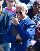 """Former Vice-President Joe Biden flashes a """"thumbs up"""" as he is introduced at a Get Out The Vote rally at Kiener Plaza in downtown St.Louis, Missouri, USA.<br /> Tim VIZER/AFP"""