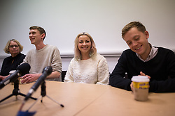 © Licensed to London News Pictures . 05/10/2015 . Manchester , UK . CHARLOTTE CHURCH (c) and OWEN JONES (r) at a People's Assembly press conference at Friends Meeting House opposite the Conservative Party Conference at the Manchester Central Convention Centre , this morning (5th October 2015) . Photo credit : Joel Goodman/LNP