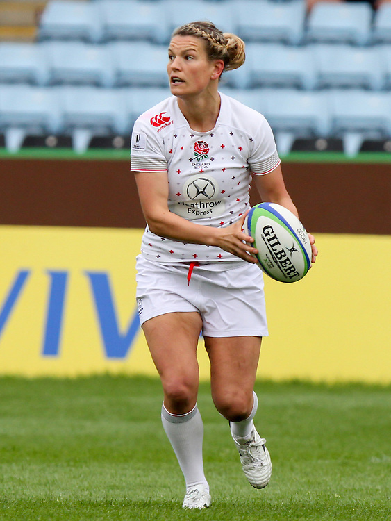 Abi Chamberlain in action for England,, Women's Sevens World Series - London Leg, The Stoop, Twickenham, London, England, Day 1 on 15th May 2015.