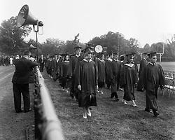 Hamden High School Graduation Ceremony Procession 1965, June 1965. Connecticut. Shot on 120 format Tri-X B&W film.
