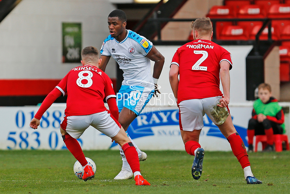 Bez Lubala on the ball during the EFL Sky Bet League 2 match between Walsall and Crawley Town at the Banks's Stadium, Walsall, England on 18 January 2020.