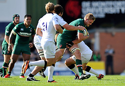 Leicester Tigers flanker Jamie Gibson goes on the attack - Photo mandatory by-line: Patrick Khachfe/JMP - Tel: Mobile: 07966 386802 - 21/09/2013 - SPORT - RUGBY UNION - Welford Road Stadium - Leicester Tigers v Newcastle Falcons - Aviva Premiership.