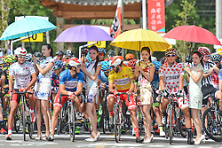September 16, 2016 - Wuhan, China - (Left-Right) Meiyin Wang - Wisdom-Hengxiang Cycling team (White Best China Rider Jersey),  Marco Benfatto - Androni-Giocattoli team (Blue Best Sprinter Jersey), Mattia De Marchi - Mattia De Marchi - Androni Giocattoli (Yellow Leader Jersey) and Maral-Erdene Batmunkh - Terengganu Cycling Team (Polka Dot Mountain Jersey), ahead of the final sixth stage, 99.6km Wuhan Xinzhou Circuit race, of the 2016 Tour of China 1..On Friday, 16 September 2016, in Xinzhou, Wuhan , China. (Credit Image: © Artur Widak/NurPhoto via ZUMA Press)