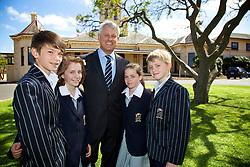 Mr Stuart Davis, St Leonards Principal with years 5 and 6 students