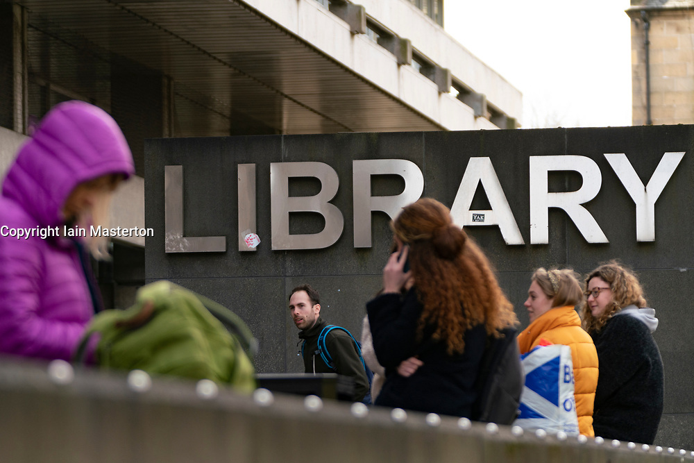 Students outside Library at University of Edinburgh, Scotland, UK