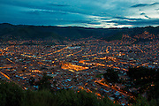 Twilight, view from Saksaywayman,  Cusco, Urubamba Province, Peru