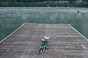Aiguebelette, FRANCE, General View of  Lake Aiguebelette - Savoie. <br /> <br /> RSA Blade on the jetty. Venue for the 2015 FISA World Rowing Championships,  <br /> <br /> Wednesday  26/08/2015  [Mandatory Credit. Karon PHILLIPS/Intersport Images]. © Peter SPURRIER, Atmospheric, Rowing