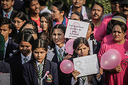 October 6, 2018 - Kathmandu, Nepal - Nepalese school girl in their uniform participate in the 'Breast Cancer Awareness' rally...Breast Cancer Awareness takes place annually throughout the month of October, aims to increase attention and support for the awareness about the disease. Breast cancer is the most common cancer in women worldwide, both in the developed and developing countries. (Credit Image: © Sunil Pradhan/SOPA Images via ZUMA Wire)