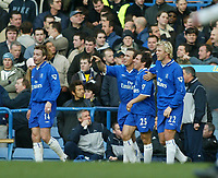 Photo: Scott Heavey<br />Chelsea V Tottenham Hotspur. 01/02/03. <br />Gianfranco Zola and his Chelsea team mates watch his stunning free-kick on the big screen  during this premiership clash at Stamford Bridge.