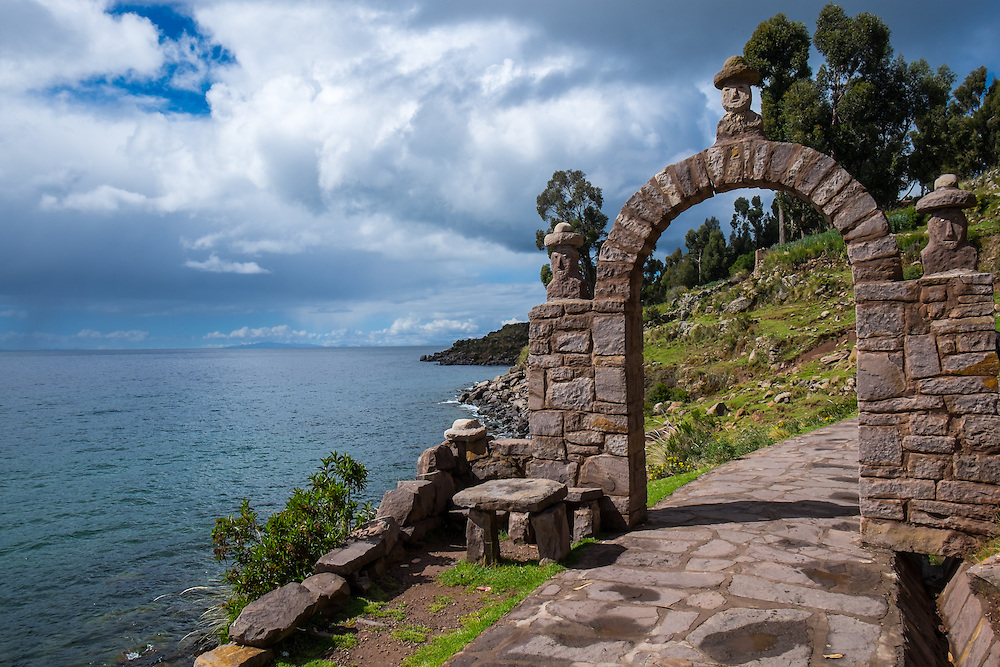 Typical arch in Taquile Island, Lake Titicaca, Peru.