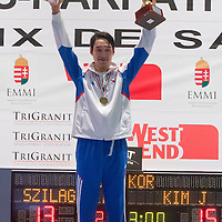 Kim Junghwan of Korea celebrates his victory during the final of the Gerevich-Kovacs-Karpati Men's Sabre Grand Prix in Budapest, Hungary on March 09, 2014. ATTILA VOLGYI