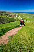 Hiking at Scorpion Ranch, Santa Cruz Island, Channel Islands National Park, California USA