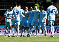 Football -Premier League- Wolverhampton Wanderers vs. Manchester City-  Man City's Sergio Aguero celebrates his first goal at Molineux
