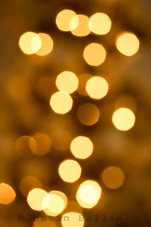Blurred out view of Christmas lights.