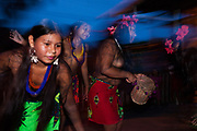 "Embera women performing a dance called ""the hammock"". Boca de Sabalo, Darien Province, Panama."