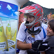 Reon Boe from Queenstwown, celebrates winning  the Corona Dirtmasters Downhill event in Queenstown, Central Otago. Eighty competitors tackled the technically demanding course which started at the Gondola summit and finished with a run down the steps in Brecon Street, Queenstown. The event was part of the inaugural Queenstown Bike Festival, which took place from 16th-25th April. The event hopes to highlight Queenstown's growing profile as one of the three leading biking centres in the world. Queenstown, Central Otago, New Zealand. 24th April 2011. Photo Tim Clayton..