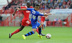 Rochdale's Bastien Hery tackles Crawley's Izale McLeod - photo mandatory by-line David Purday JMP- Tel: Mobile 07966 386802 - 06/09/14 - Crawley Town v Rochdale - SPORT - FOOTBALL - Sky Bet Leauge 1 - London - Checkatrade.com Stadium