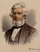 William Chambers (1800-1883), Scottish publisher and author.  In the 1820s, with a small second-hand hand press, William and his older brother Robert laid the foundations of what, by the end of the 19th century, became one of the largest English language publishers in the world, W & R Chambers, Edinburgh.  From 'The Modern Portrait Gallery' (London, c1880). Tinted lithograph.