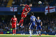 Christian Fuchs of Leicester City © wins a header.  Premier league match, Chelsea v Leicester city at Stamford Bridge in London on Saturday 15th October 2016.<br /> pic by John Patrick Fletcher, Andrew Orchard sports photography.