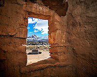 Window looking out at Sleeping Ute Mountain and wood ladder to the Kiva at Kelly Place near Cortez, Colorado. Image taken with a Nikon D3 camera and 14-24 mm f/2.8 lens and interior fill flash (ISO 200, 16 mm, f/11, 1/250 sec).